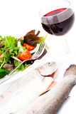 Healthy diet. Health foods selection with red wine on white Stock Photography
