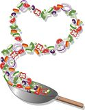 Healthy diet. Vector illustration of a healthy heart in a pan Royalty Free Stock Photography