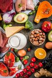 Healthy organic food. Healthy diet background. Organic food ingredients, superfoods: beef and pork meat, chicken filet, salmon fish, beans, nuts, milk, eggs Royalty Free Stock Photos