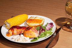 Healthy diet BBQ chicken dinner. Nutritional slimmers meal with Royalty Free Stock Photography