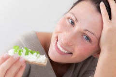 Healthy diet bread female Royalty Free Stock Photography