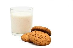 Healthy diet breakfast. Cereals, lvsyanoe biscuits and yogurt in a glass on a white background Stock Photos