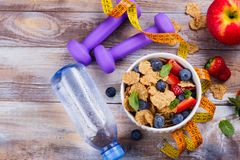 Healthy diet breakfast. Oatmeal flakes and berries. Fitness, sport or healthy lifestyle concept. Copy space Royalty Free Stock Photography