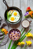 Healthy diet breakfast with spring morning mood, fried eggs Royalty Free Stock Photography