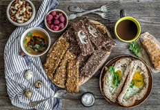 Healthy diet breakfast. On a wooden background Stock Image