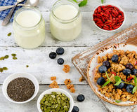 Healthy diet Breakfast on a wooden table. Royalty Free Stock Photos