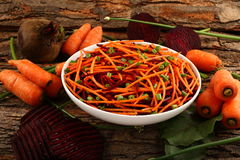 Healthy diet-  carrot and beetroot spaghetti Royalty Free Stock Photo