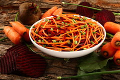 Healthy diet-  carrot and beetroot spaghetti Stock Photos