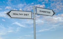 Healthy diet and diabetes. Road sign to healthy diet and diabetes stock photo