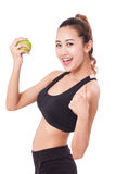 Healthy diet eating woman holding apple for weightloss Royalty Free Stock Photos