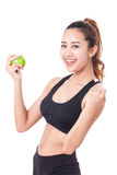 Healthy diet eating woman holding apple for weightloss Royalty Free Stock Image