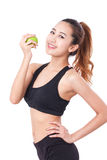 Healthy diet eating woman holding apple for weightloss Royalty Free Stock Photography