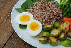 Healthy Diet Fitness Healthy Diet Buckwheat Egg Boiled Half Salad Brussele Cabbage Carrots Copy Space. Healthy Diet Fitness Healthy Diet Buckwheat Egg Boiled Stock Images