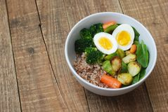 Healthy Diet Fitness Healthy Diet Buckwheat Egg Boiled Half Salad Brussele Cabbage Carrots Copy Space. Healthy Diet Fitness Healthy Diet Buckwheat Egg Boiled Royalty Free Stock Photos