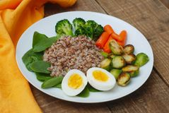 Healthy Diet Fitness Healthy Diet Buckwheat Egg Boiled Half Salad Brussele Cabbage Carrots Copy Space. Healthy Diet Fitness Healthy Diet Buckwheat Egg Boiled Stock Photography