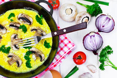 Healthy and Diet Food: Scrambled Eggs with Mushrooms and Vegetab Royalty Free Stock Photo