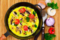 Healthy and Diet Food: Scrambled Eggs with Mushrooms and Vegetab Stock Image