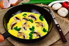 Healthy and Diet Food: Scrambled Eggs with Mushrooms and Vegetab Royalty Free Stock Image