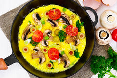Healthy and Diet Food: Scrambled Eggs with Mushrooms and Vegetab Stock Photo