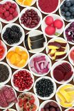 Healthy Diet Food. Selection in porcelain bowls, high in antioxidants, anthocyanins, vitamins and minerals Stock Photos