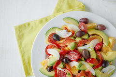 Healthy diet. Fresh fruit and vegetables salad Royalty Free Stock Images