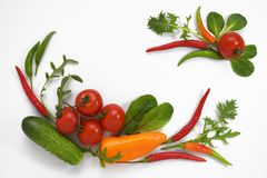 Healthy diet fresh vegetables flat lay isolated on white. Tomato, bell-pepper, cucumber, ruccola, mangold. Copy space. Text horizontal banner template art royalty free stock image