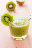 Healthy diet fruit juice kiwi wooden table Royalty Free Stock Photo