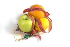 Healthy diet; fruit with measure Stock Photos