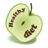 Healthy diet (clip-art). Healthy diet on a green apple Royalty Free Stock Image