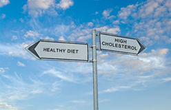 Healthy diet and high cholesterol. Road sign to healthy diet and high cholesterol stock photography