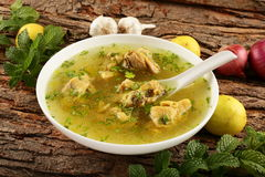 Healthy diet- homemade chicken soup . Royalty Free Stock Image