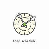 Healthy diet icon. Food schedule icon. Rational nutrition, healthy lifestyle, healthy diet concept Stock Photos