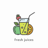 Healthy diet icon. Fresh juices icon. Healthy diet, organic vegetarian food concept Royalty Free Stock Image