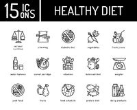 Healthy diet icons. Healthy dieting icon, rational nutrition icons, slimming loss weight, healthy lifestyle, balanced diet eating, organic food, vegetarian Stock Image