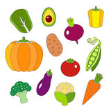 Healthy diet icons fresh organic vegetables Royalty Free Stock Photos