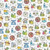Healthy diet icons seamless pattern. Healthy diet icons seamless pattern, healthy eating, rational nutrition icons, slimming loss weight, healthy lifestyle Royalty Free Stock Photos