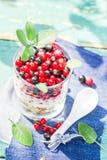 Healthy diet muesli colorful fresh fruit Stock Images
