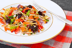 Healthy, diet: Mushrooms mun, bamboo shoots, soy sprouts, pepper Stock Photography
