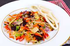 Healthy, diet: Mushrooms mun, bamboo shoots, soy sprouts, pepper Stock Photo