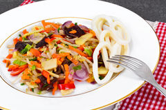 Healthy, diet: Mushrooms mun, bamboo shoots, soy sprouts, pepper Royalty Free Stock Photo