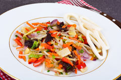 Healthy, diet: Mushrooms mun, bamboo shoots, soy sprouts, pepper Royalty Free Stock Photography