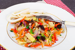 Healthy, diet: Mushrooms mun, bamboo shoots, soy sprouts, pepper Stock Image