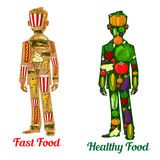 Healthy diet nutrition and fast food. Human icons. Healthy diet nutrition vs fast food. Human body icons with symbol of vegetables tomato, potato, pepper, radish stock illustration