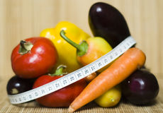 Healthy diet with organic vegetables. Healthy diet with pepper bell pepper and egg plant Stock Image
