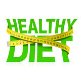 Healthy diet phrase with measuring tape Royalty Free Stock Images