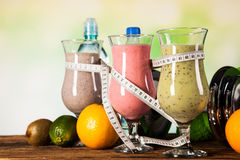 Healthy Diet, Protein Shakes And Fruits Stock Photography