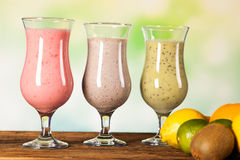 Healthy diet, protein shakes and fruits Stock Photos