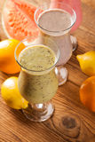 Healthy diet, protein shakes and fruits Stock Images