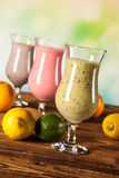 Healthy diet, protein shakes and fruits Royalty Free Stock Photos