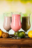 Healthy diet, protein shakes and fruits Royalty Free Stock Images